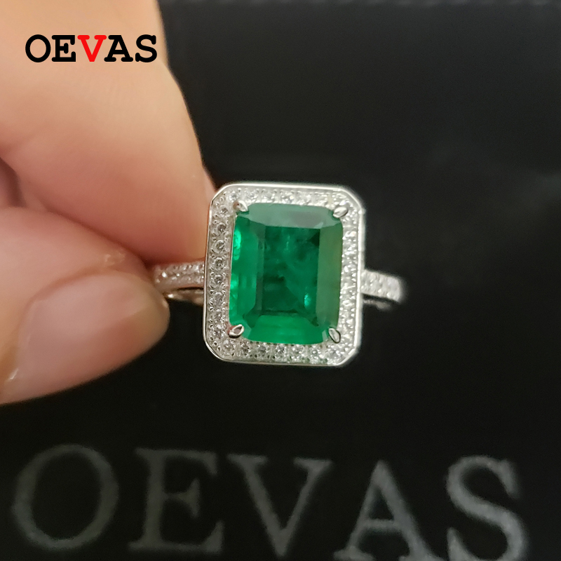 OEVAS 100% 925 Sterling Silver Rings For Women Rectangle Created Moissanite Emerald Gemstone Diamonds Wedding Party Fine Jewelry