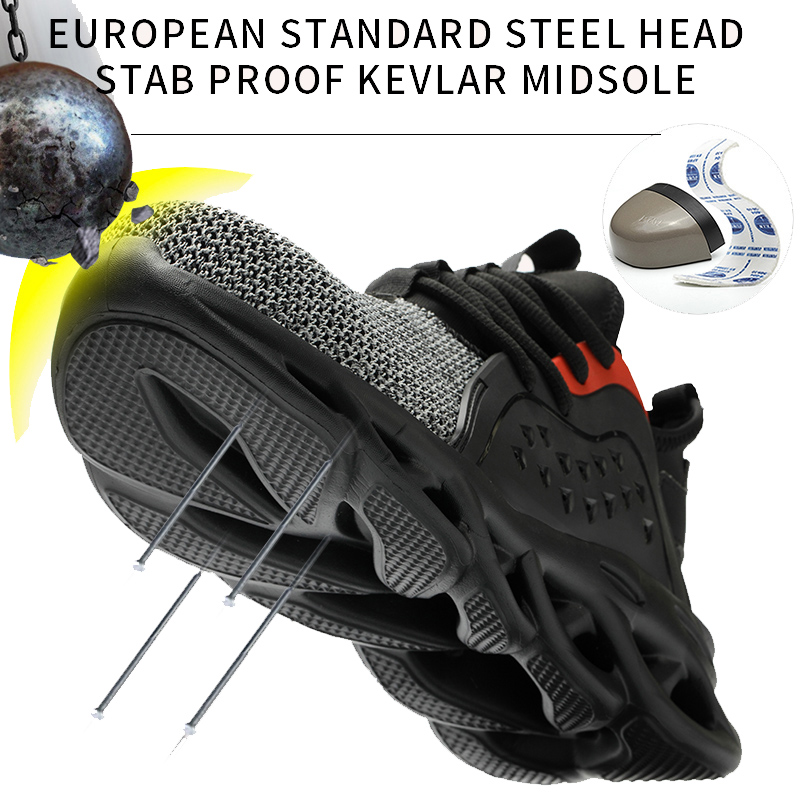 MWSC Summer Breathable Safety Work Shoes For Men Steel Toe Cap Work Shoes Anti-smashing Construction Working Safety Sneakers Men 4