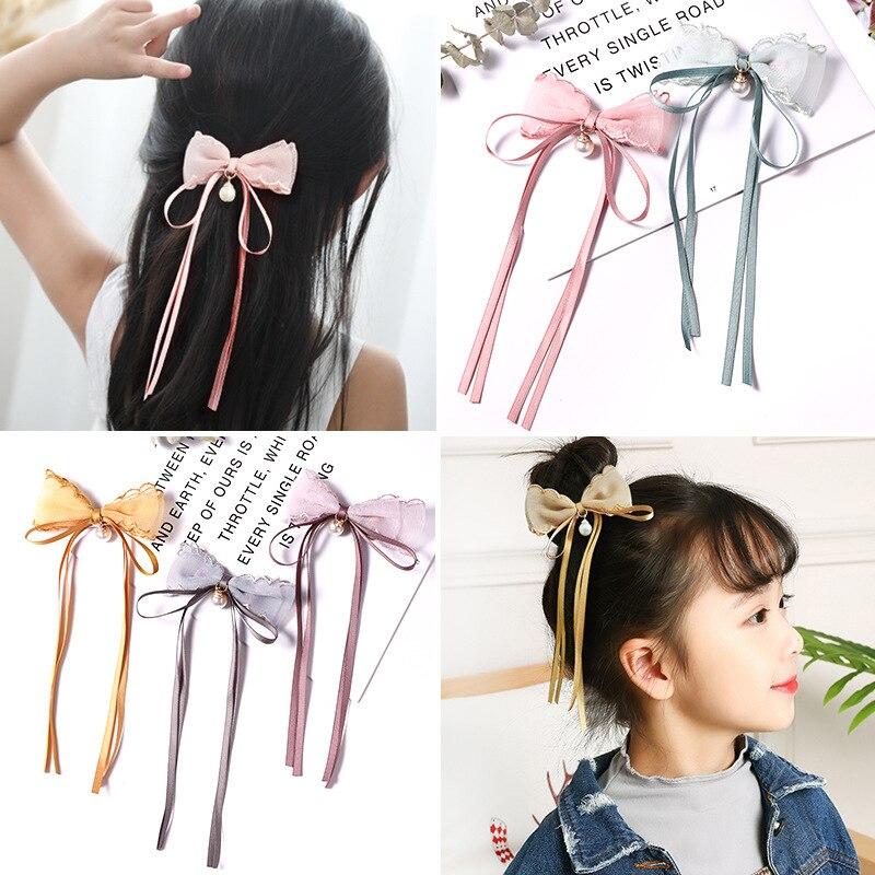 1 Piece Lace Children's Hair Accessories Tassel Yarn Hanging Stars Tassel Bow Hairpin Girls Headdress Hair Accessories