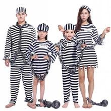 Umorden festa de carnaval dia das bruxas prisioneiro traje para homens mulheres crianças criança família violento prisioneiro trajes fantasia vestidos conjunto