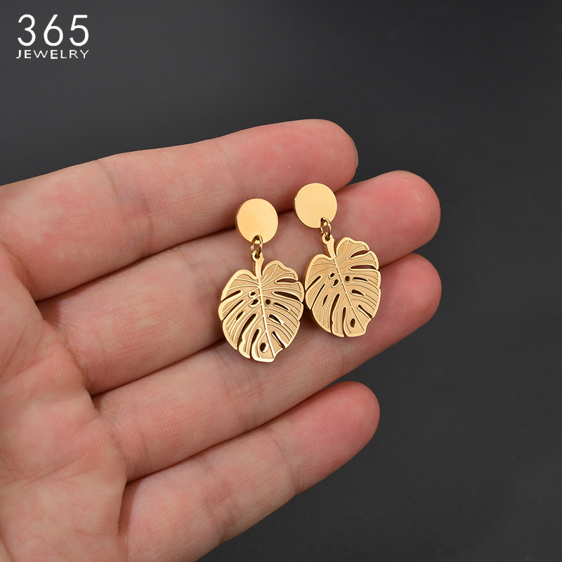 Bohemian Stainless Steel Monstera Leaf Dangle Drop Earrings Women Gold Tropical Hollow Plant Leaves Brincos Party Gifts