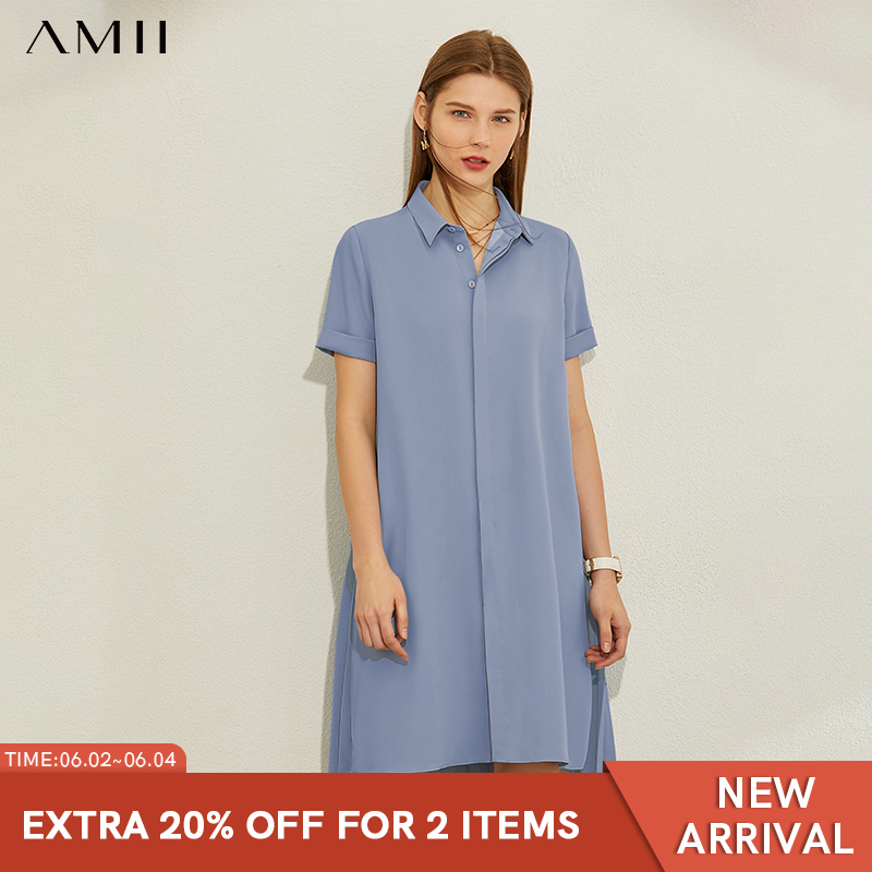AMII Minimalism Spring Summer Solid Lapel Causal Women Dress Loose Single-breasted Knee-length Dress 12080037