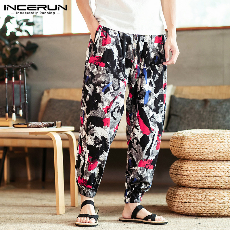 Men Harem Pants Joggers Printed Streetwear Cotton Loose Drawstring Casual Trousers Men Ethnic Pantalones Hombre S-5XL INCERUN