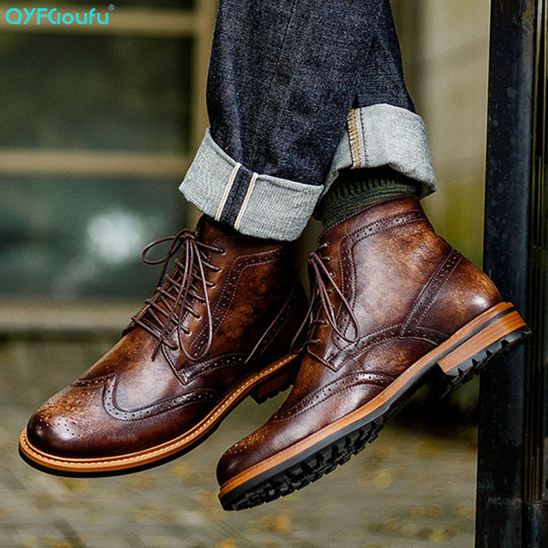 QYFCIOUFU New Men Martins Boots Genuine Leather Fashion Vintage Ankle Boots High Quality Male Lace-up Leisure Chelsea Boots