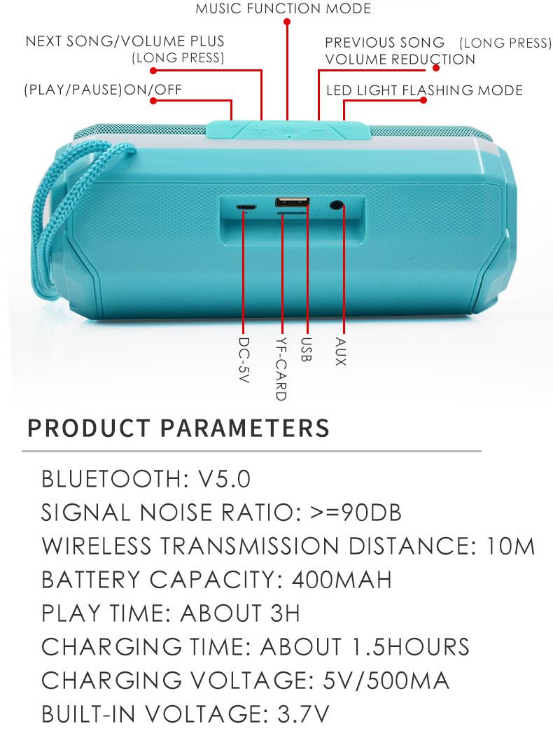 Портативный bluetooth динамик светодиодный двойной s беспроводной
