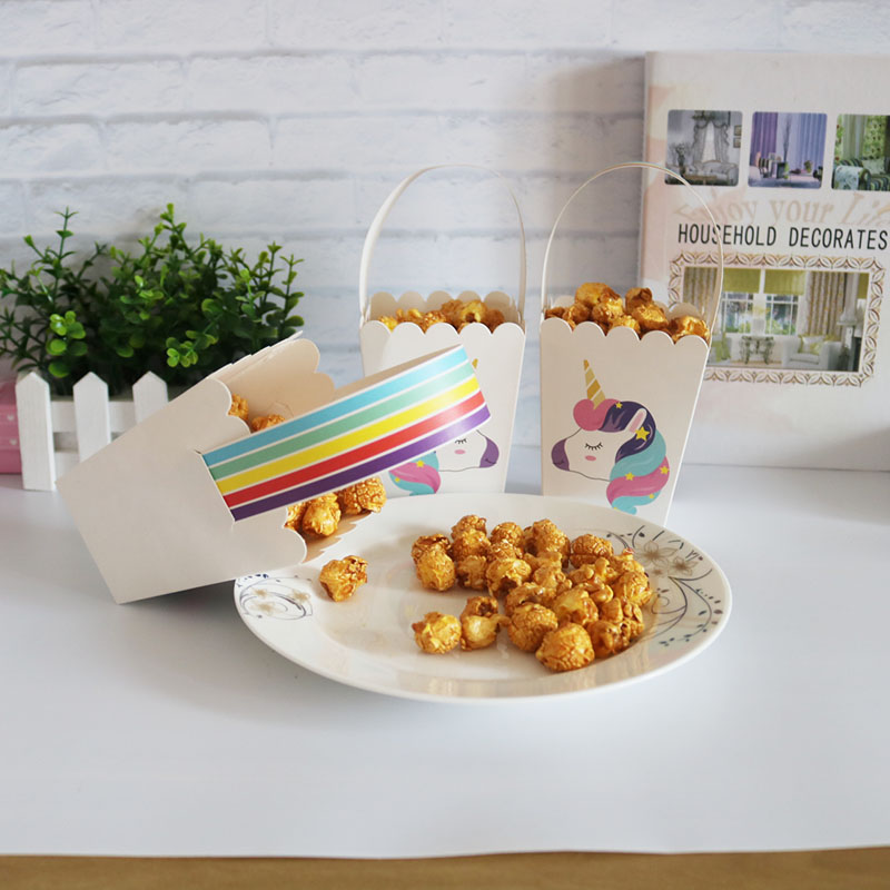 Unicorn Party Candy Bag Popcorn Box Packaging Christmas Box Baby Shower Birthday Party Cookie  Box Event Party Supplies