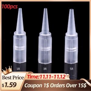 Image 1 - Wholesale 100Pcs Disposable Tattoo Nozzle Tip Caps 3 Types Microblading Pen Needle Tube Plastic Cap 1R 3R 5R Tattoo Accessories
