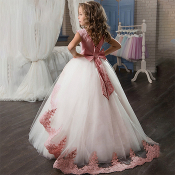 Flower First Communion Lace Princess Girl Dress Baby Wedding Dress Evening Long Elegant Party Dress Costume Kids Dress for Girls gorgeous children girls black grey birthday celebration evening party flower princess lace dress kids model catwalk host dress
