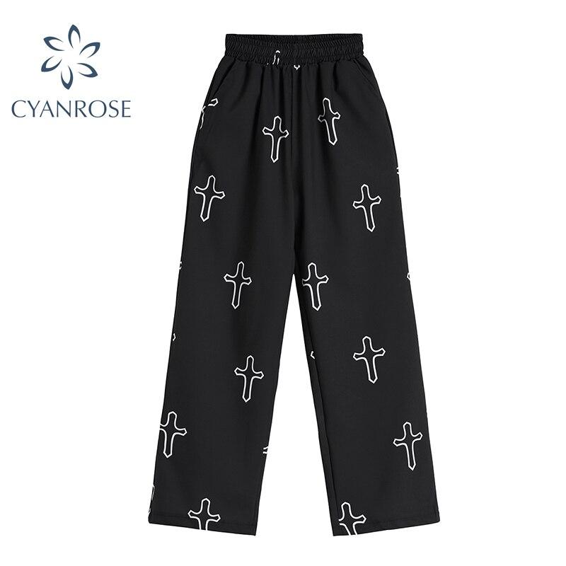 High Waist Casual Long Pants Women Summer 2021 Harajuku Hip-hop Vintage Print Wide Leg Trousers Unisex Loose Gothic Streetwear