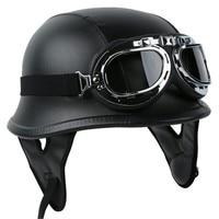Motorcycle Helmet German PU Leather Style Pilot Goggles Open Face Half Face Retro Helmets Cruise Chopper Biker Pilot DOT M L XL 2