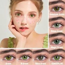 Bio-esencia 2 Pcs/pairs ojo lentes de contacto para los ojos Verdes lentes de color cosméticos para los ojos anual Lentillas Verdes Naturales