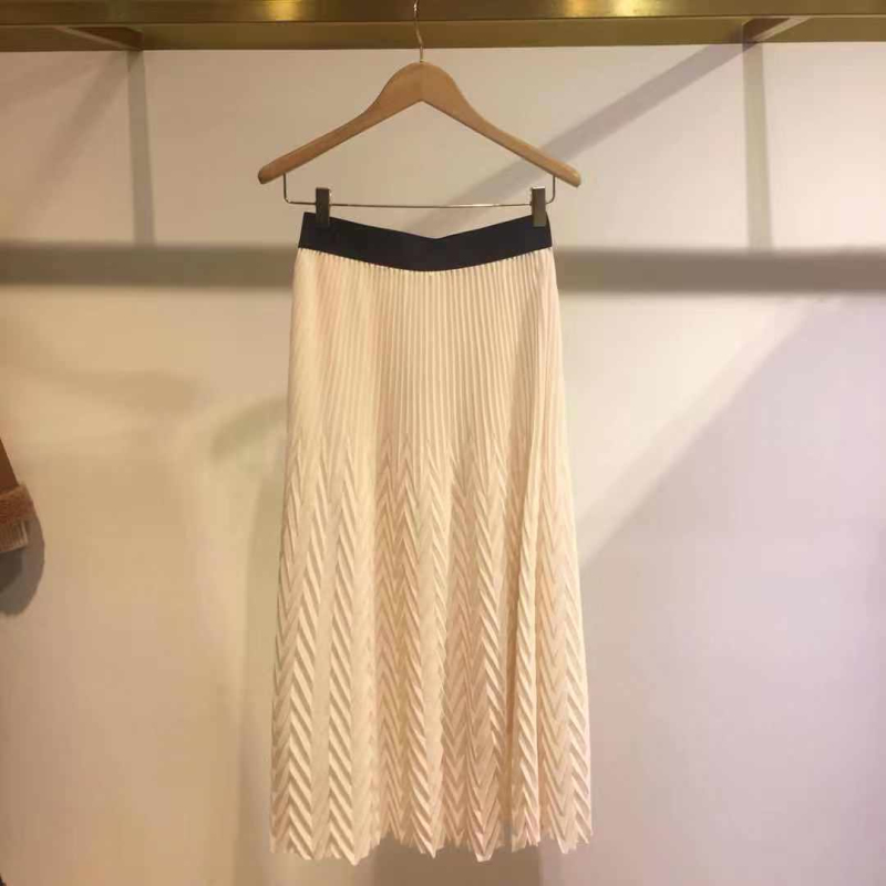 Elastic Waist Pleated Wave Pattern Women Skirt Mid-length Women's Skirt 2020 New