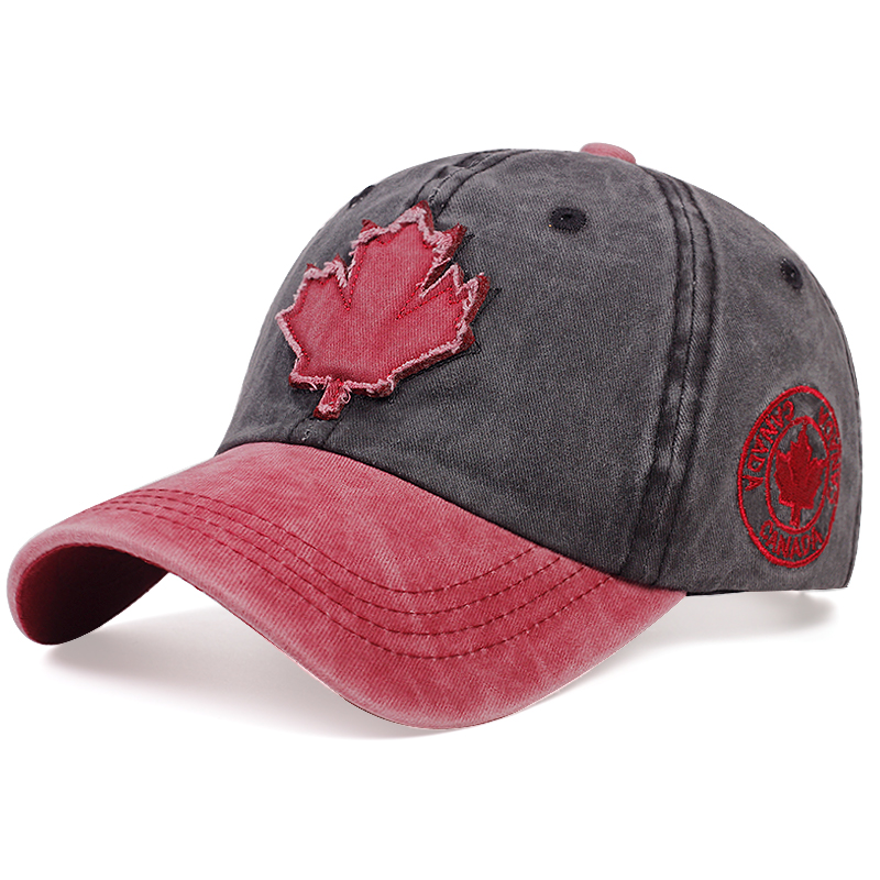New Maple Leaf Patch Baseball Cap Couple Universal Wash Splicing Dad Hats Summer Outdoor Wild Casual Hat Fashion Truck Caps