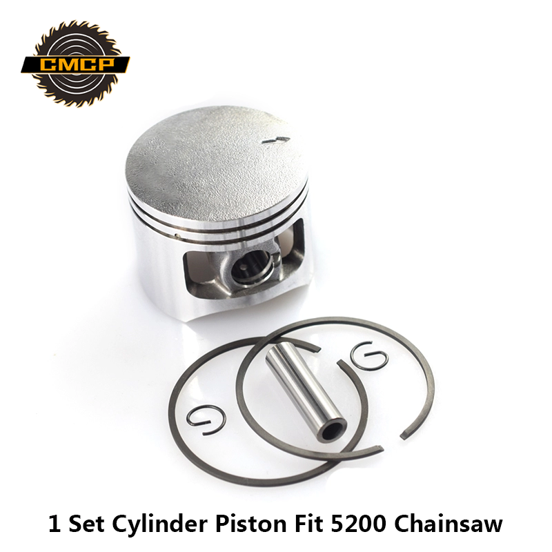 1 Set 5200 52CC Chainsaw Piston Ring Pin Kit 45mm Chainsaw Piston Set Chainsaw Piston Kit