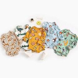 Боди для новорожденных, детская одежда с длинными рукавами, Модный хлопковый комбинезон с мультяшным принтом для мальчиков и девочек