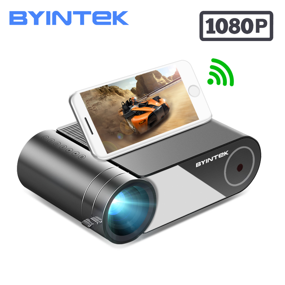 Byintek K9 ミニプロジェクター、 hd 720 p 1080 led ポータブルマイクロホームシアター (オプションのマルチスクリーン iphone アプリ電話タブレット)液晶プロジェクター   -