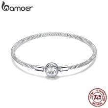 BAMOER klasik 100% 925 ayar gümüş aşk sonsuza aşk yılan zincir bilezikler kadınlar gümüş takı 17CM 19CM SCB105