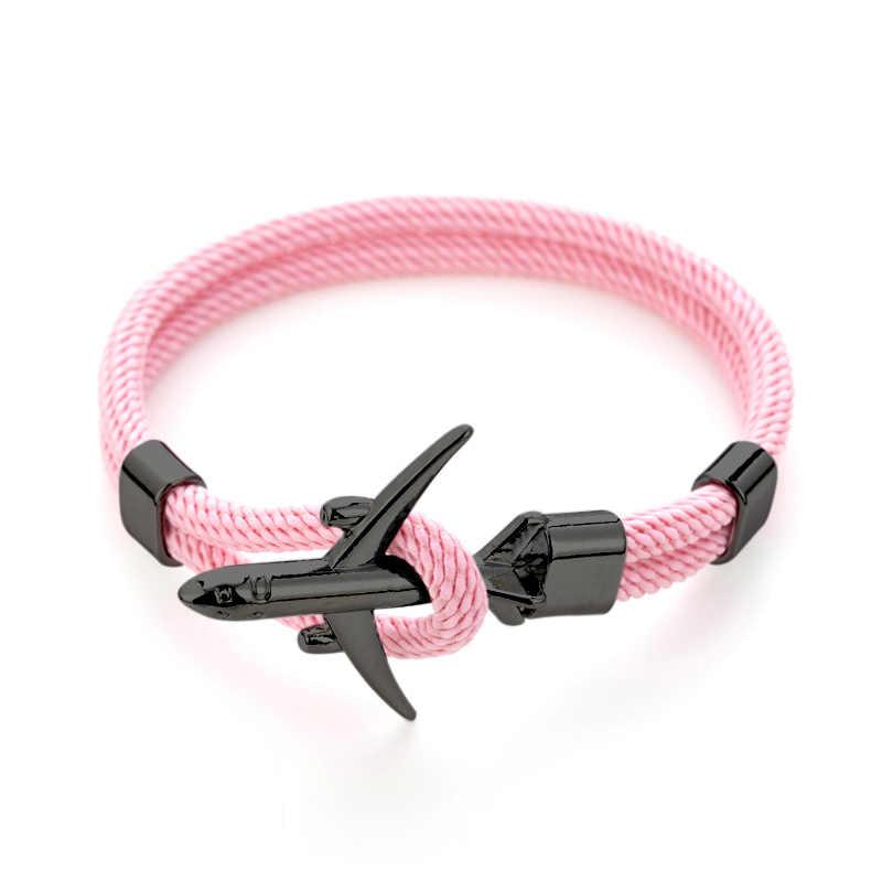 Moda samolot kotwica bransoletki mężczyźni urok Rope Chain Paracord bransoletka mężczyzna kobiet sił powietrznych styl Wrap Metal Sport hak