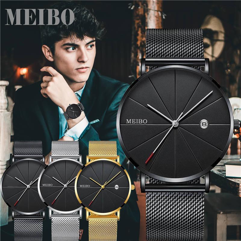 Black Men's Ultra Thin Watch Stainless Steel Mesh Band Leather Clock Classic Quartz Date Wristwatch Casual Relogio Masculino
