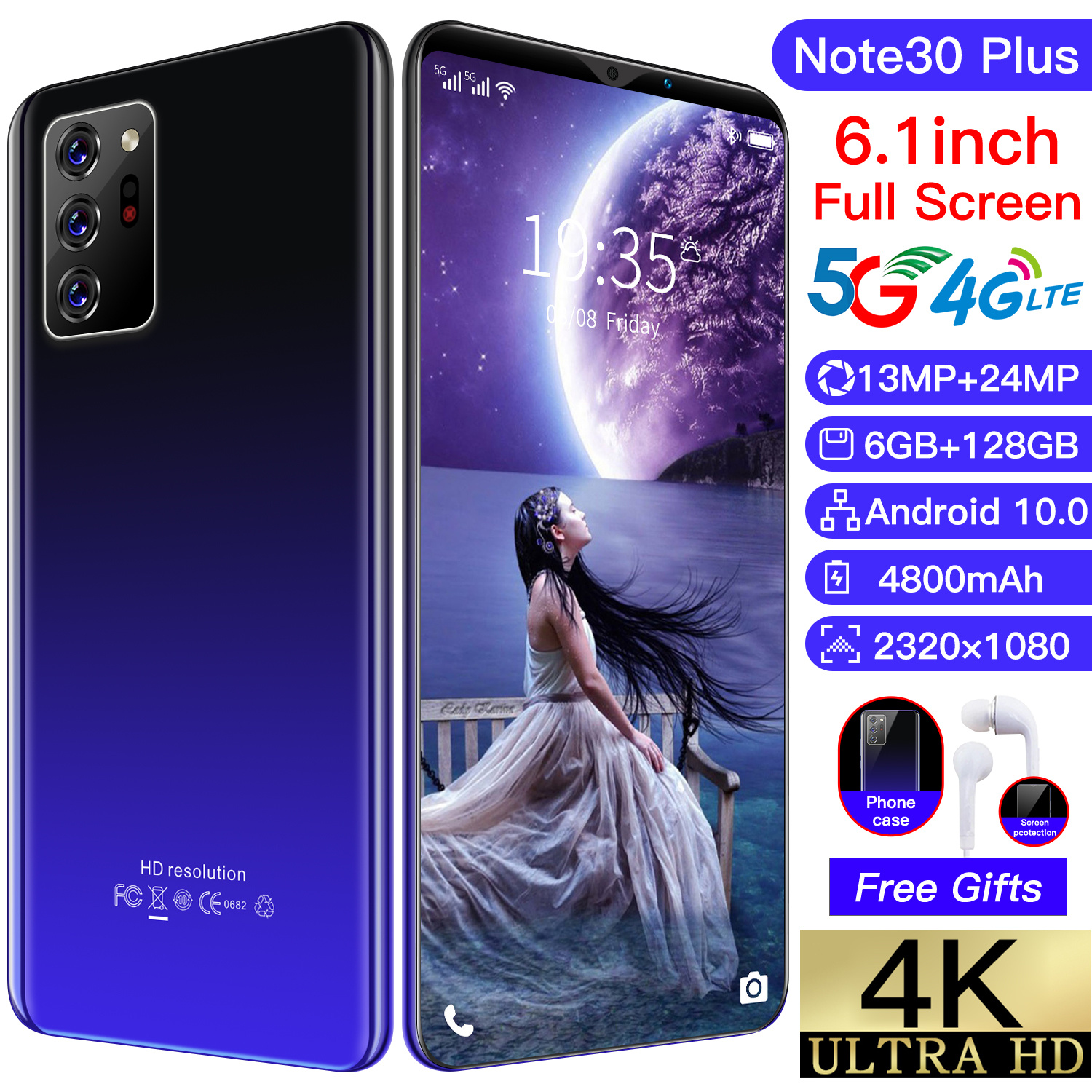 2021 Global Version Note30 Plus 6.1 Inch Smartphone 10 Core 4800mAh 6+128GB 13+24MP Face Unlock Dual SIM 4G LTE 5G Mobilephone
