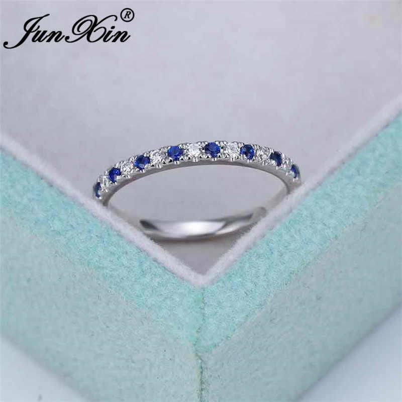 ที่ละเอียดอ่อนขนาดเล็กสีขาวหินคริสตัลบางแหวนซ้อนจัดงานแต่งงาน Silver Gold สี Minimalist หมั้นแหวน