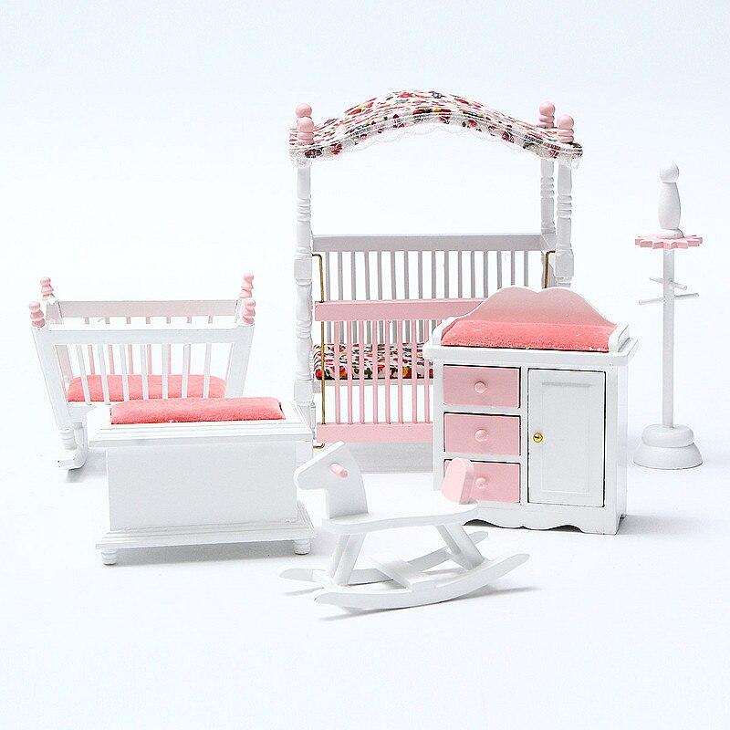 6pcs/set Wooden DIY Mini Dollhouse Bedroom Furniture Toys Set 1/12 Simulation Furniture Model Toy For Doll House Decoration Pink