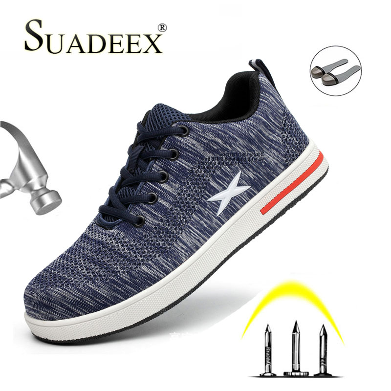 Buy SUADEEX Men's Work Shoes Steel Toe Cap Safety Shoes Outdoor Puncture proof Steel Plate Construction Working Sneakers Male Female
