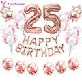 37 шт. розовое золото номер 25 фольга, латекс воздушные шары 25th Happy День рождения украшения для взрослых Для женщин двадцать пять Юбилей расход...