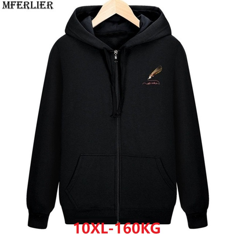 Winter Men Fleece Warm Hoodies Hooded Sweatshirts Zipper 8XL Plus Large Size Big 9XL 10XL Cotton Soprts Oversize Coat Sportwear
