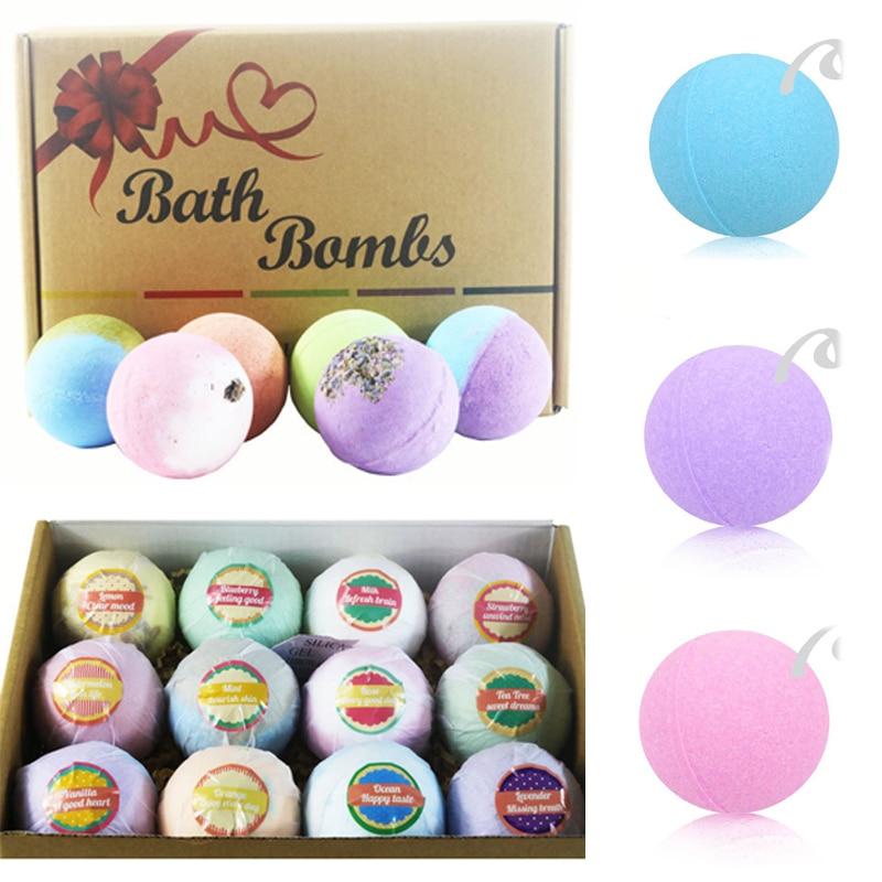 12Pcs Bath Salt Bomb Ball Essential Oil Natural Bubble Whitening Moisturizing Bubble Bath Bomb Ball Essential Oil Handmade Salts