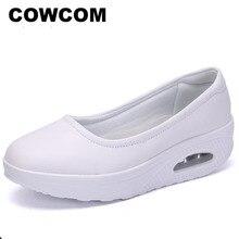 كاوكوم قطرة بيع أحذية تمريض تنفس سميكة أسفل أحذية المرأة الجلد وسادة الربيع الأبيض أحذية عادية الضحلة 42 CYL