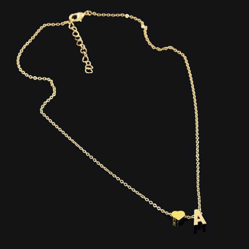 SMJEL Fashion Hati Kecil Awal Kalung Wanita Personalisasi Nama Surat Kalung Kalung Collier Femme Perhiasan Hadiah Aksesori