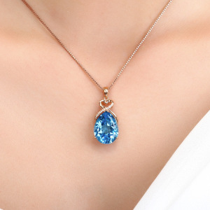 14K Rose Gold 3 Carats Sapphire Stone Pendant Women Pure Natural Blue Sapphire Gemstone 14K Rose Gold Necklace Jewelry Pendant