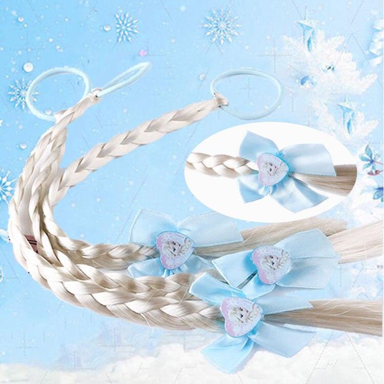 Disney Frozen 2 Children Doll Accessories Girls Baby Hair Rope Wig Braid Princess Elsa Wig Beautiful Princess Hair Toys