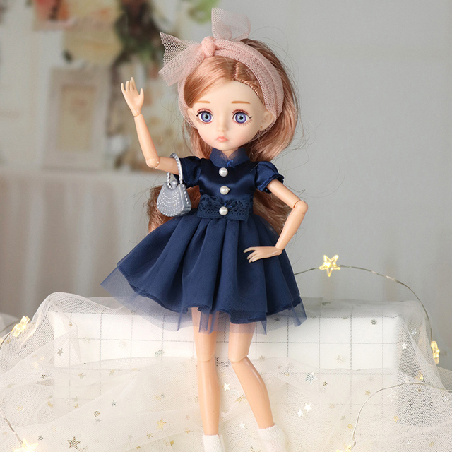26cm 1/6 Bjd Doll With Clothes Blue 3D Eyes 11 Movable Joints Eyelashes Long Hair Wig Dress Up DIY Toy For Girls Fahsion Gift 2