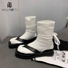 Outono inverno flat-bottomed laço-up botas curtas split toe flip-toe estiramento meias botas trotters sapatos moda zapatos de mujer
