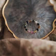 Moda ametista rosa turmalina cristal frisado anéis bonito minimalista elástico corda 3 mm grânulo geométrico anéis finos para presente feminino
