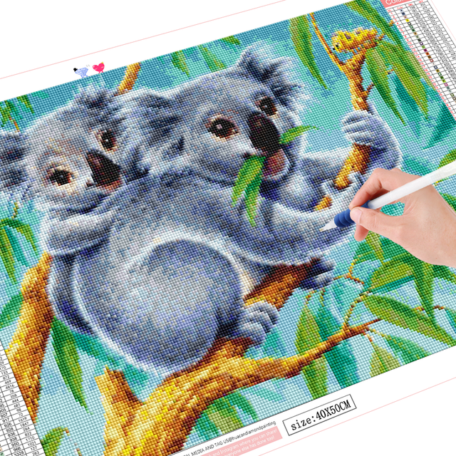 HUACAN DIY Diamond Painting Full Round square Koala Animal 5D Embroidery Cross Stitch Home Decor Handmade