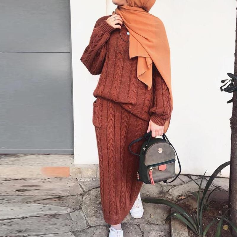 Winter Sweater Abaya Dubai Turkey Muslim Sets Hijab Dress Caftan Kaftan Islam Clothing Abayas For Women