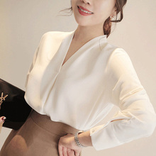 Women New Fashion Casual Chiffon Blouse Female V-neck Long Sleeves Solid Color Shirt