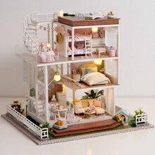 Casa de muñecas en miniatura para niños, juguete educativo para ensamblar madera
