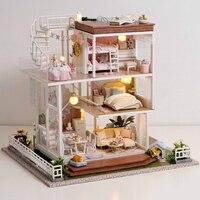 Kids Toys Diy Dollhouse Assemble Wooden Miniatures Doll House Furniture Miniature Dollhouse Puzzle Educational Toys For Children