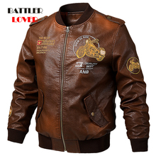 Men's Genuine Cow Leather Jackets Men Embroiderry Coats Male Motorcycle Windbreak Jacket Casual Slim Brand Coats Plus Size M-5XL