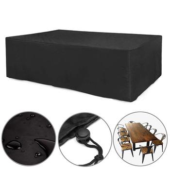 24 rozmiary Oxford tkaniny meble osłona pyłoszczelna na ratanowy stolik fotel w kształcie kostki Sofa wodoodporny deszcz ogród Patio pokrowiec ochronny tanie i dobre opinie Nowoczesne 100 poliester jjz006 120*120*74CM Black