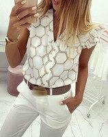 Summer New Women V Neck Hexagonal Print Ruffles Casual Shirt 2019 Short Sleeve Loose Chiffon Top Ladies Business Feminine Blouse