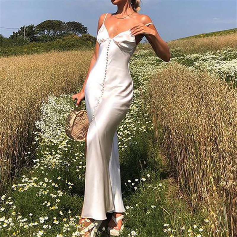 Weiß Frauen Strap Maxi Kleid Lange Maxi Bandage Backless Ärmelloses Kleid Bodycon Sexy Party Elegante Club Split Sommer Kleider