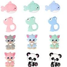TYRY. HU 5PC Baby Beißring Silikon Kätzchen Panda Form Cartoon Zahnen Spielzeug Anhänger Für Schnuller Kette Inant Kauen Hängen Spielzeug