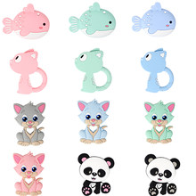 TYRY.HU 5PC Baby Teether Silicone Kitten Panda Shape Cartoon Teething Toys Pendant For Pacifier Chain Inant Chew Hanging Toys(China)