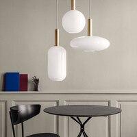 الحديثة ضوء Led الزجاج قلادة أضواء الإضاءة لوفت مطعم قلادة Led مصباح السرير غرفة نوم الممر داخلي ديكو تركيبات إضاءة-في أضواء قلادة من مصابيح وإضاءات على