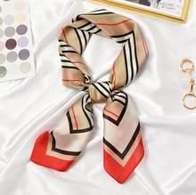 Novo 70x70cm feminino multifunction poliéster lenço de seda elegante listras impresso casual cetim pequeno quadrado envolve cachecóis xale